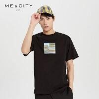 【1件2.5折到手价:64.8】MECITY男装新款时尚贴布印花短袖恤韩版潮流T恤