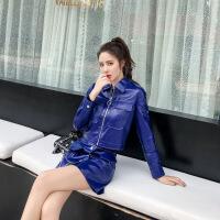 新年优惠【NEW】妃米2018秋冬新款绵羊皮皮皮衣女海宁修身漆皮短款皮裙套装 蓝色套装