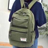 帆布双肩包男女士复古休闲高中学生书包大容量旅行背包