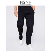 NSNF侧缝撞色黑色针织男士长裤 休闲裤 2017年新款男士休闲裤 潮牌男裤