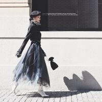 软妹仙女裙莎莎不规则网纱裙半身裙2018春款渐变百褶蓬蓬裙中长款 图片色