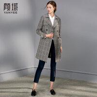 颜域品牌秋装女2018新款OL宽松气质西装领中长款薄外套格子风衣女