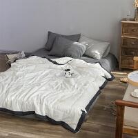 简约水洗棉夏被空调被夏凉被北欧纯色薄被子单人双人裸睡