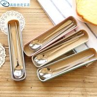 餐具小麦秸秆抽拉式筷子勺子餐盒创意健康礼品餐具2件套装 随机可以备注 2件套