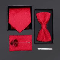 男士正装领带结婚新郎领结方巾红色花纹五件套礼盒