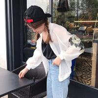 2018夏季新款韩版学生小清新花朵刺绣短外套女宽松长袖显瘦防晒衣