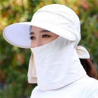 帽子女士夏天遮阳帽户外防沙滩太阳帽旅游帽骑车遮脸防晒帽