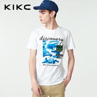 kikc短袖T恤男2018夏季新款圆领字母印花青少年休闲时尚上衣男士