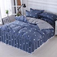 床裙款床罩四件套裙式床单带花边1.5米1.8m床上被套