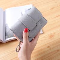 女士钱包短款多功能折叠大容量三折小清新拉链韩版学生零钱包钱夹 灰色