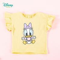 【99元3件】迪士尼(Disney)童装 女童短袖T恤纯棉小飞袖上衣2020年夏季新品女孩薄款体恤