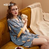 安之伴睡衣女20年新品夏季纯棉短袖女士睡衣开衫休闲运动可外穿家居服