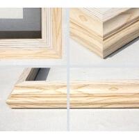 家居生活用品画框 油画画框 油画外框 数字油画布内框欧式外框装裱 304050挂墙 木色 A3 木纹白线