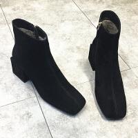 欧洲站2018秋冬新款女鞋方头粗跟高跟靴子女短靴侧拉链方跟马丁靴 透气单里 鞋码偏大