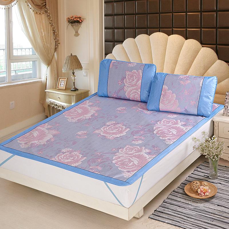 当当优品凉席 可折叠提花冰丝席两件套 防滑1.2米空调席 盛世牡丹(蓝) 120*195cm