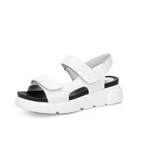 骆驼女鞋 2018夏季新品凉鞋女坡跟 舒适真皮休闲鞋透气魔术贴凉鞋
