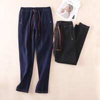 冬季女士牛仔裤 厚实松紧腰百搭休闲裤深色外穿长裤 WD346