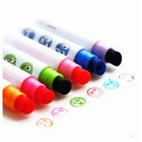 可爱创意表情印章笔 彩色荧光笔印章水彩笔 油性记号笔 6色套装