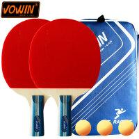 乒乓球拍初学者训练横拍直拍双面反胶套胶2只装