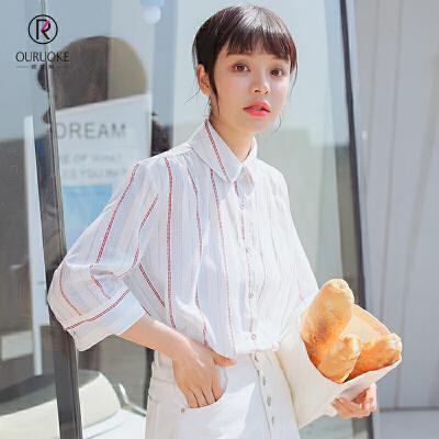 欧若珂 2018夏季清新甜美韩版翻领中袖清爽衬衫女