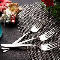 加厚不锈钢餐叉 主餐叉 优质光柄不锈钢叉子 西餐叉 酒店刀叉厂家