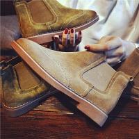 秋季新款磨砂真皮短靴女舒适布洛克单靴子切尔西靴及裸靴潮