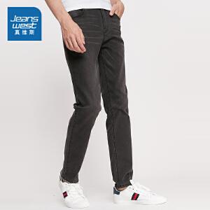 真维斯牛仔裤男薄款 2018男士中腰弹力修身黑色牛仔长裤