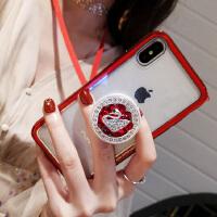 新款苹果X手机壳女iphone8plus玻璃支架水钻透明6s韩国7p挂绳 iPhone X 红色