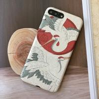苹果xsmax仙鹤手机壳iphone7/8plus日系和风保护套i6s浮雕全包ins