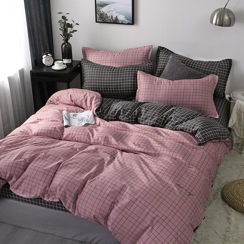 款ins棉纯棉四件套被子被套三件套夏季床上用品宿舍床单人  +2枕芯
