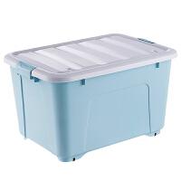 收纳箱塑料特大号整理箱有盖滑轮衣服棉被储物箱子玩具桌面收纳盒