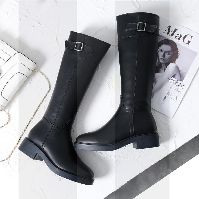 靴子女长靴秋冬2018新款骑士靴高筒马靴皮靴平底长筒靴及膝瘦瘦靴SN7095 黑色 695-5加绒 跟高3.5cm