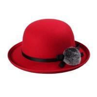 秋冬天卷边礼帽  毛呢帽子  女士毛球球盆帽