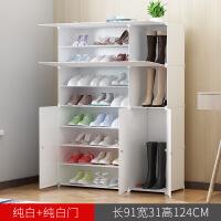 简易经济型宿舍家用鞋架多功能实木纹多层收纳省空间防尘塑料鞋柜