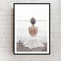 北欧ins装饰画唯美抽象美女孩艺术卧室床头背景壁画性冷淡风挂画 70*100 25mm厚板质感布纹膜 拼套