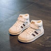 女童小白鞋高帮秋冬新款男童篮球鞋休闲加绒儿童运动鞋 金色 加绒