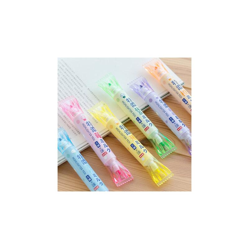 文曦糖果色双头荧光笔学生用创意记号笔划重点标记笔彩色涂鸦笔