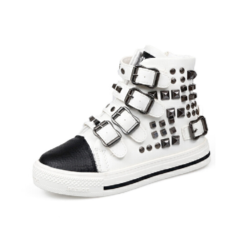 比比我2017春秋新款儿童高帮休闲鞋防滑男童板鞋时尚男女童鞋子