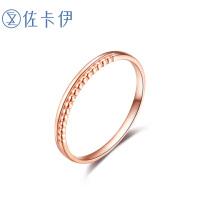 佐卡伊 玫瑰18K金素金戒指时尚K金女戒