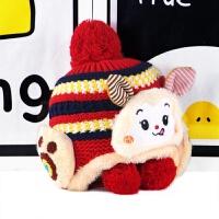 2018冬季新款儿童帽子男女宝宝卡通小猴护耳针织帽保暖加绒毛线帽 默认0
