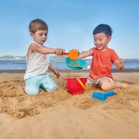 Hape沙滩冒险套1-6岁儿童沙滩玩具铲套装桶宝宝大号男孩小桶沙漏组合E4056