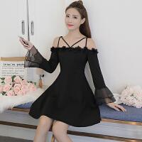 黑色小礼服秋装新款女气质 吊带连衣裙性感露肩喇叭袖a字裙子