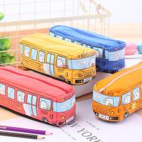 韩版创意汽车笔袋学生文具小动物巴士笔袋 铅笔盒 男女帆布文具盒