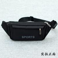手机腰包男多功能超薄运动跑步帆布休闲户外防水牛津布实用大容量 黑色