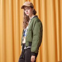 美特斯邦威2017冬装新款羽绒服女短款bf风简约保暖短外套商场款