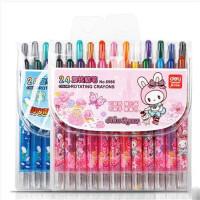 得力6966 24色旋转蜡笔 幼儿涂鸦蜡笔 儿童画画笔蜡笔 颜色随机