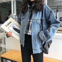 秋冬女装韩版bf宽松原宿风外套破洞复古学生短款长袖牛仔夹克上衣 图片色