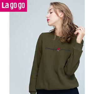 Lagogo/拉谷谷2016年冬季新款时尚圆领字母绣花卫衣