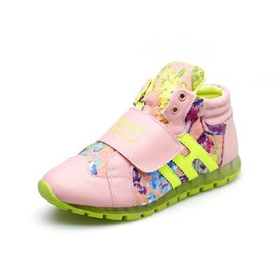 比比我2017春秋季儿童高帮学生休闲运动鞋单鞋男童女童韩版童鞋潮【每满100减50】
