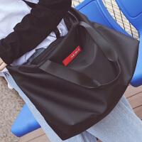 短途旅行包女手提包韩版轻便行李包简约旅行袋大包男电脑包健身包 黑色 大